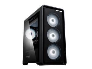 Zalman M3 Plus mATX Mini Tower Computer/PC Case with Premium Tempered Glass, Pre-Installed Four White LED 120mm Fans, Black