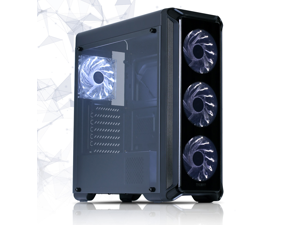 Zalman i3 Edge ATX Mid-Tower Computer PC Case with 4 x 120mm White LED Fans, Acrylic Side Window, Excellent Cooling Performance, Black