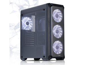 Zalman i3 ATX Mid Tower Computer PC Case with Pre-Installed 4 x 120mm White LED Fans, Smoky Acrylic Side Window, 7 PCI Slots, Black