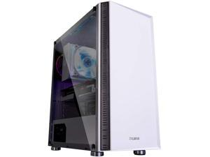 Zalman R2 ATX Mid Tower PC Case with Modern Mesh Front Panel Design, Tempered Glass, 1 x 120mm RGB Fan, USB 3.0 & 2.0, LED Control Button, Top & Bottom Dust Filter (White)