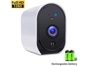 Wireless Rechargeable Battery Powered WiFi Camera, Home Security Camera, Night Vision, 1080P Video with Motion Detection, 2-Way Audio, Waterproof, Compatible with Cloud Storage/SD Slot
