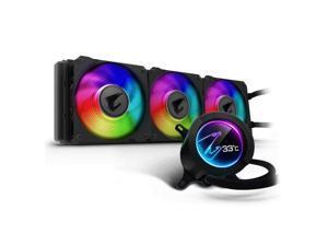 GIGABYTE AORUS RGB AIO Liquid Cooler 360, 360mm Radiator, AORUS WATERFORCE X 360 , Customizable Full Color LCD Display, Advanced RGB Lighting and Control, Intel 115X/2066, AMD AM4, TR4