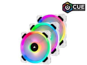 Corsair LL Series CO-9050092-WW LL120 RGB, 120mm Dual Light Loop RGB LED PWM Fan, 3 Fan Pack with Lighting Node PRO, White.