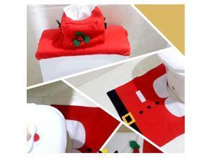 Creative Santa Toilet Seat Cover Toilet Sets Toilet Clothes Christmas Decorations Bath Mat Holder Closestool Lid Cover set