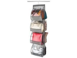 "Hanging Purse Organizer For closet Clear Handbag Organizer For Purses, Handbags Etc. 8 Easy Access Clear Vinyl Pockets With 360 Degree Swivel Hook, Gray, 47"" L x 12 ¼"" W"