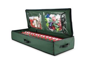 Christmas Wrapping Paper Storage Box With Inside Pockets, 600D oxford material Stores Up To - Rolls, Slim Underbed Holiday Wrapping Paper Storage 14 x 40 x 6 inch Green