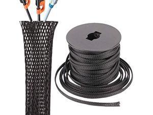 Techflex 1 Inch Flexo Clean Cut Braided Cable Sleeve 25 Feet Black