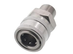 Erie Tools 3/8in. MPT Male Stainless Steel Socket Quick Connect Coupler 4000 PSI 10 GPM for Pressure Washer Nozzle Gun Hose Wand