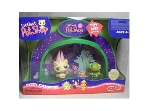 littlest pet shop light up dome cozy campfire with frog #400 & cat #401