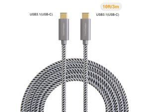 USB Type C-C Cable , CableCreation 10FT Braided USB 2.0 Type C (USB-C) to Type C Data Charging Cable(3A), for New Macbook 12 inches, Chromebook Pixel, Nexus 5/6p, Lumia 950/950XL & more (Gray)