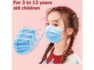 100 Pieces 3-Layer Disposable Face Masks for 3-12 Years Old Children -Protect Kids from Dust, Germs and Pollen Blue