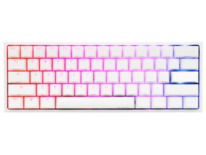 Ducky One 2 Mini Pure White - RGB LED 60% Double Shot PBT (Kailh Speed Pro Burgundy) Mechanical Keyboard