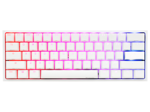 Ducky One 2 Mini Pure White - RGB LED 60% Double Shot PBT (Kailh BOX Silent Pink) Mechanical Keyboard