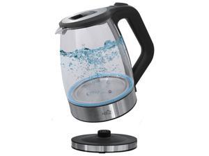 Hauz AGK666 1.7L Stainless Steel Cordless Glass Kettle with LED Base Black