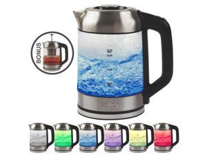 Salton GK1758 Cordless Electric Jug Kettle 1.7L with LED Color Changing Temperature and Tea Steeper