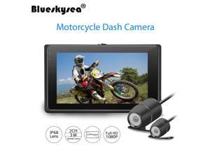 "Blueskysea T2 Motorcycle Twin Camera Dual HD Dash Cam Action 3"" TFT Display Camcorder DVR Video Recorder"