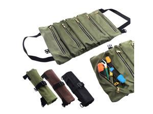 500*290mm Tool Bag Canvas Roll Up Bag Multi-Purpose Storage Bag Portable Zipper Wrench Pouch Hanging Tool Organizer Green