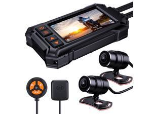 Motorcycle Dash Camera Overall Waterproof, BlueSkySea A12 Front and Rear 1080P + 1080P Motorbike Dashcam Built-in WiFi GPS 150° Wide-angle Loop Recording G-Sensor Parking Mode