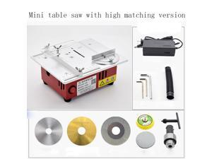 96W mini precision table saw, multi-function wood table 9200/min Small cutting machine diy model multifunctional household mini chainsaw(High version accessories match)