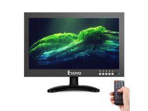 """Eyoyo 12"""" HDMI IPS Monitor, 1366x768 170° wide viewing Metal Housing LED Screen Support HDMI/VGA/AV/BNC Input Video Audio Built-in Speakers With Wall Bracket&Remote Control for PC CCTV Security Camera"""