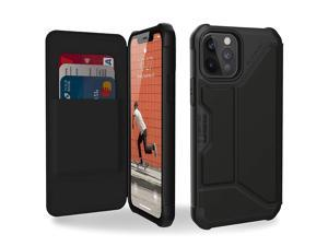 UAG iPhone 12 Case/iPhone 12 Pro Case [6.1-inch screen] Flip Folio Cover w/Card Slots & Viewing Stand Rugged Metropolis Protective Cover, Smooth PU SATN ARMR Black