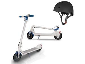 Fiat 3-Speed Portable Folding Electric Scooter 350W Motor (White) with Helmet Bundle