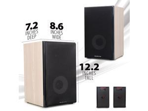 Deco Home DHPAS100 Passive 140W Bookshelf Speaker Set, 5-inch Woofer with Dome Tweeter, Modern Light Wood Finish with White Woofer Cone