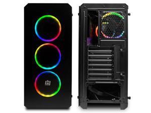 Deco Gear Mid-Tower PC Gaming Computer Case Full Tempered Glass and LED Lighting