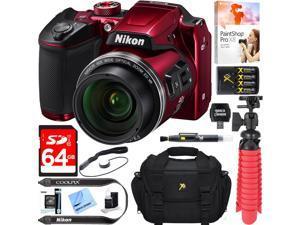 Nikon COOLPIX B500 16MP 40x Optical Zoom Wi-Fi Digital Camera (Red) + 64GB Bundle