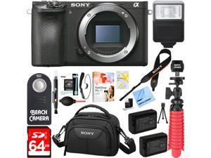 Sony ILCE-6500 a6500 4K Mirrorless Camera Body w/ APS-C Sensor + 64GB Battery Bundle