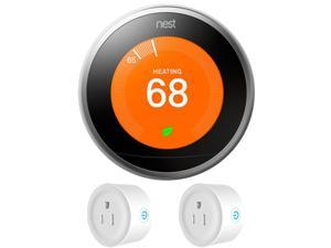 Nest Learning Thermostat 3rd Gen (Stainless Steel) w/ 2 Pack Wifi Smart Plug