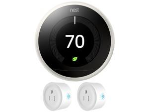 Nest Learning Thermostat (3rd Generation, White) w/ 2 Pack Smart Plug