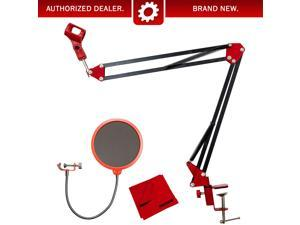Deco Gear Microphone Suspension with Boom Scissor Arm Stand and Pop Filter Bundle