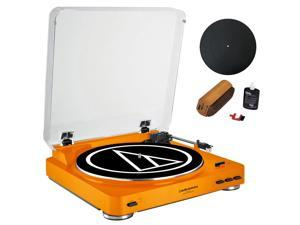Audio-Technica Fully Automatic Stereo Turntable System Orange+Essentials Bundle