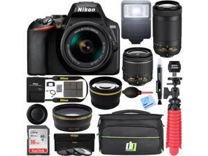 Nikon D3500 DSLR Camera w/ 18-55mm & 70-300mm Zoom Lens (Renewed) w/ 16GB Bundle