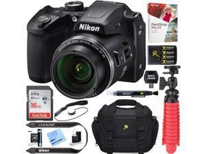 Nikon COOLPIX B500 Digital Camera (Black) + Accessory Bundle, Certified