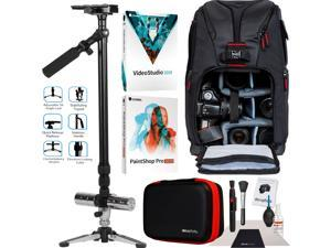 "Vivitar VIV-ST-6000-BLK Professional 59"" Video Photo Stabilizer Tripod Backpack Bundle"