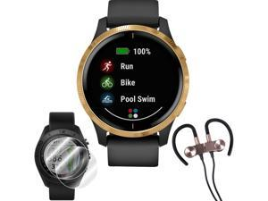 Garmin Venu Amoled GPS Smartwatch (Gold,Black Band) + Wireless Headphones & More Bundle