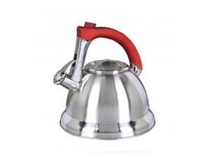 Mr. Coffee 63017.02 Mr. Collinsbroke 2.4 Qt. Stainless Steel Tea Kettle with Red Handle