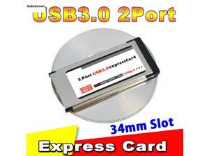 Hot sale USB 3.0 PCI-E Card Adapter PCI Express to 5 Gbps PCMCIA Dual 2 Ports for NEC Chipset 34 MM Slot ExpressCard Converter