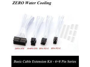 Basic Extension Cable Kit; 1pcs ATX 24Pin/EPS 4+4Pin/PCI-E 8Pin/PCI-E 6Pin Extender; Purple,White,Yellow,Orange,Green,Carbon.