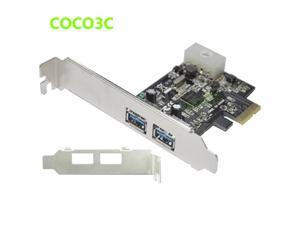 5Gbps 2 ports USB 3.0 PCI-e Controller Card w / Low profile Bracket PCI Express to USB3.0 Converter Adapter 4P IDE power Supply