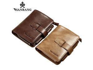7d640a4b371b ManBang Genuine Leather Men Wallets Coin Purse Vintage Wallet Cowhide ...