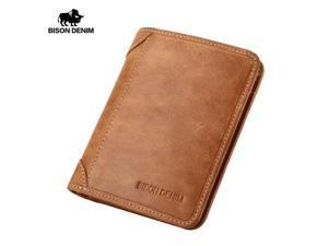 BISON DENIM Genuine Leather Wallet Vintage yellow Men's purse Cards Holder Soft ...