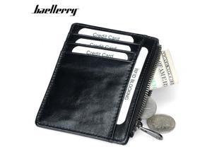 Genuine Leather Rfid Men Or Women Card Holder Wallets Zipper Coin Pocket Male Credit Card Purse Female Ladies Small Wallet Purse