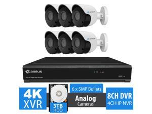 Camius 6 5MP Analog Outdoor Bullet Security Camera System with 4K 8 Channel DVR (+4 channel IP as NVR), 4K HDMI video output, software, phone app, Night vision expandable to 12 channels