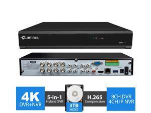 Camius 4K 8MP Hybrid 12CH Security DVR NVR with Hard Drive 3TB - Analog 8CH DVR + 4CH IP NVR - 4K HDMI, VGA, SPOT-Output, Audio, Alarm IO - Sold Without Cameras- TRIVAULT4K184