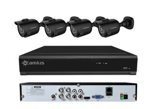 Camius HD 720P 4 Channel DVR Security System with 4 Wired Black Analog Bullet Indoor-Outdoor Cameras, 60ft night vision, 3.6mm wide, PC/Mac/Mobile view (without HDD storage)