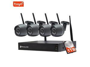 SDETER Outdoor Wireless Security Camera System with 1TB HDD, 4PCS 1080P Night Vision Outside WiFi Cameras Set, Plug and Play Surveillance NVR Kit, Motion Detect
