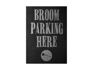 Broom Parking Here Print Broomstick Picture Large Fun Scary Humor Halloween Seasonal Decoration Sign Aluminum 12x18